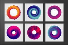 Vórtice del color Plantilla del diseño de la cubierta de Minimalistic con la cáscara espiral Forma abstracta con las líneas del r Imagen de archivo