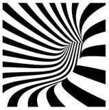 Vórtice del túnel en rayas blancos y negros concéntricas Imagen de archivo
