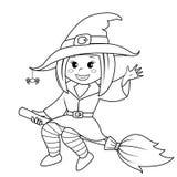 Vôo da bruxa de Halloween na vassoura Ilustração preto e branco do vetor para o livro para colorir ilustração stock