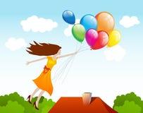 Vôo da menina com balões. Fundo do vetor ilustração do vetor