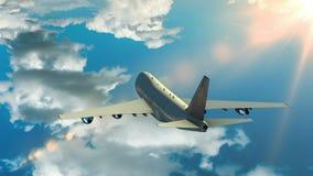 Vôo do avião sobre as nuvens ilustração do vetor