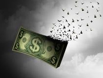 Vôo do dinheiro ausente Fotos de Stock Royalty Free