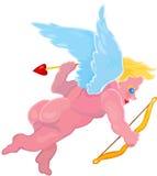 Vôo do menino do cupid dos desenhos animados do vetor Foto de Stock Royalty Free