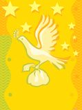 Vôo do pássaro com um presente ilustração stock