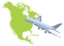 Vôo do plano de jato acima com o mapa de América do nord Imagens de Stock