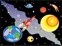 Vôo a Marte. ilustração stock