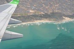 Vôo sobre a costa África do Sul da cidade do cabo Imagens de Stock