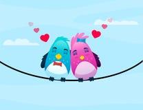 Vögel auf Draht in der Liebe umarmt sich Lizenzfreies Stockbild
