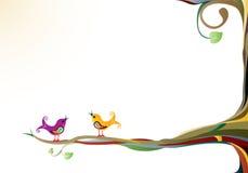 Vögel auf einem Baum Stockbild