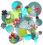 Vögel, Blumen und andere Natur. Stockbild