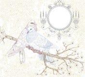 Vögel in der Liebe. Abbildung in der Retro- Art Lizenzfreies Stockfoto