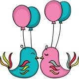 Vögel in der Liebe mit Ballonen lizenzfreie abbildung