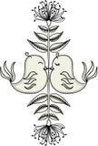 Vögel in der Liebe mit Blumendekoration vektor abbildung