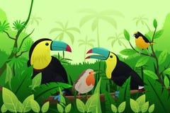 Vögel, die auf Niederlassungen des Baums stillstehen Stockfoto