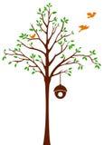 Vögel, die Baum und Käfig verlassen Stockbilder