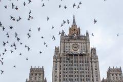 Vögel fliegen über das Gebäude des russischen Ministeriums fremden A Lizenzfreie Stockfotografie
