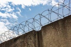 Vögel im Himmel hinter einem Zaun überstiegen mit Stacheldraht Lizenzfreies Stockbild