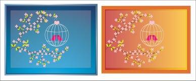 Vögel mit BlütenBilderrahmen Stockbilder