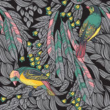 Vögel mit Federn und Blumen. Nahtloser Hintergrund. Hand gezeichnet Stockfotos