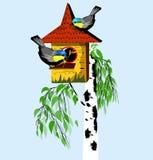 Vögel mit Vogelhaus auf dem Baum Stockbilder