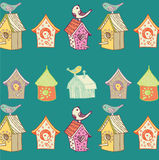 Vögel und Birdhouses Stockbilder