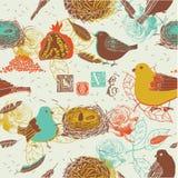 Vögel und Nest-Hintergrund Lizenzfreies Stockfoto