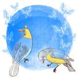 Vögel und Schmetterling auf Wasserfarbhintergrund. Stockbilder