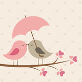 Vögel unter Regenschirm Lizenzfreie Stockfotos