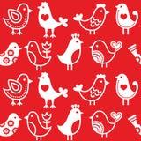 Völker, Retro- roter Hintergrund mit Vögeln - nahtloses Muster Lizenzfreies Stockfoto