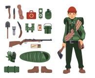 Völlig bushcraft-ausgerüsteter Mann mit lokalisierten bushcraft Einzelteilen in der Nähe Überlebensausrüstung ausführlich Satz lo lizenzfreie abbildung