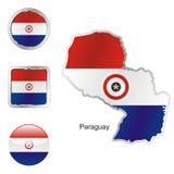 Völlig editable vektormarkierungsfahne von Paraguay Lizenzfreie Stockfotografie