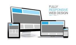 Völlig entgegenkommende Illustration der Webdesignelektronischen geräte Lizenzfreie Stockfotos