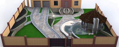 Völlig erläuterte private Yardlandschaftsgestaltung, steuernd renderi 3D Lizenzfreie Stockbilder