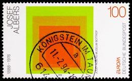 Vördnad till fyrkanten av Joseph Albers, EuropaCEPT 1993 - samtida konstserie, circa 1993 royaltyfri bild