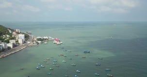 V?ng Tàu, Vietam, Asie, Asie du Sud-Est, longueur du bourdon 4k avec de belles vues : bateaux de pêche, stations de vacances, mon clips vidéos