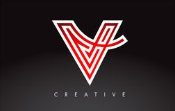 V书信设计商标 信件v与现代Swoosh的象商标 库存图片