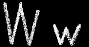 v, w, x, y,在黑背景动画隔绝的z手写的白色白垩信件 库存例证