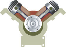 V –shaped Engine's Pistons Stock Image