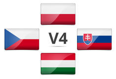 V4 σημαία χωρών ομάδας του Visegrad Στοκ Εικόνες