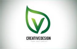 V дизайн письма логотипа лист с зеленым планом лист Стоковые Изображения RF