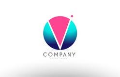 V дизайн значка логотипа письма сферы алфавита 3d голубой розовый Стоковая Фотография RF