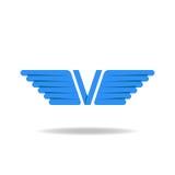 V - письмо с голубыми крылами, идея логотипа, перекрывая метод Стоковое фото RF