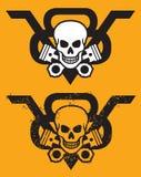 V-8与头骨和活塞的引擎象征 免版税库存照片