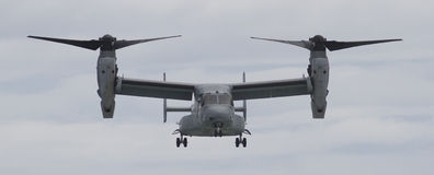 V-22 Osprey aircraft. Front view of an approaching US Marine V-22 Osprey tiltrotor aircraft Stock Photography