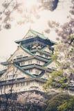 与樱花的日本大阪城堡 日本春天视图  v 免版税库存照片
