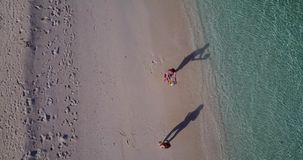 V03814 Aerial flying drone view of Maldives white sandy beach on sunny tropical paradise island with aqua blue sky sea Royalty Free Stock Photo