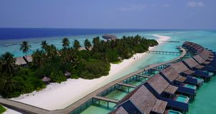 V03662 Aerial flying drone view of Maldives white sandy beach on sunny tropical paradise island with aqua blue sky sea Stock Photography