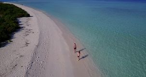 V03813 Aerial flying drone view of Maldives white sandy beach on sunny tropical paradise island with aqua blue sky sea stock video footage