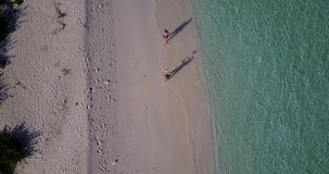 V03816 Aerial flying drone view of Maldives white sandy beach on sunny tropical paradise island with aqua blue sky sea. Aerial flying drone view of Maldives stock video