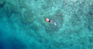 V06452 Aerial flying drone view of Maldives white sandy beach young people snorkeling swimming underwater on sunny Royalty Free Stock Photos